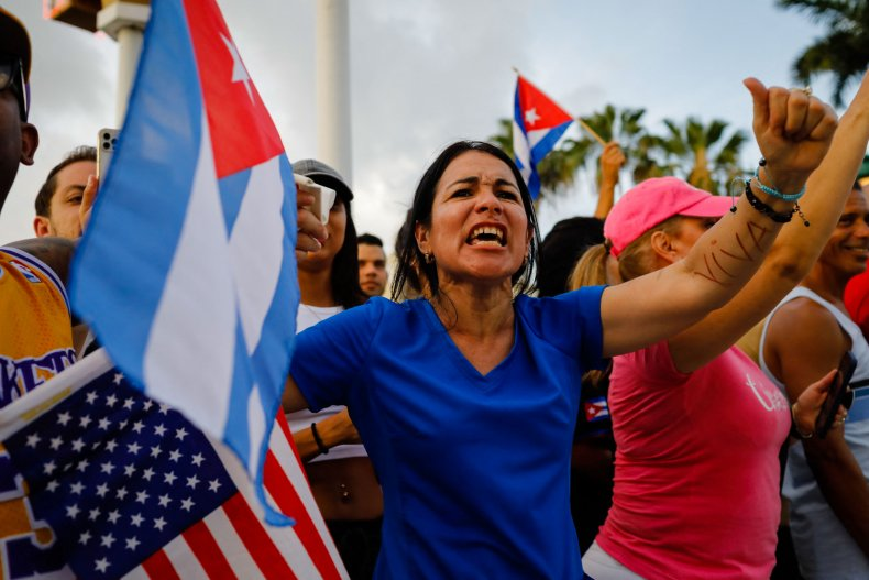 Cuban Americans protest in Miami
