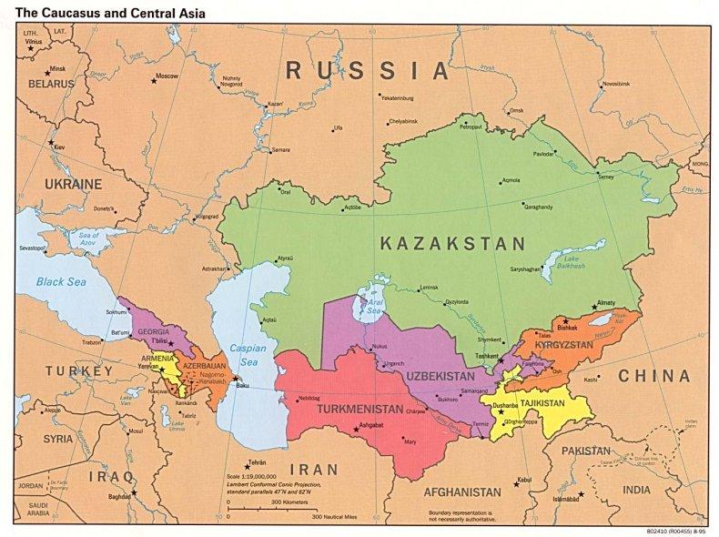 map, caucasus, central, asia