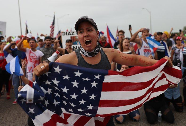 US, protesters, against, Cuba, government, Miami, Florida