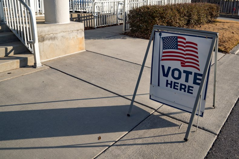 A Sign Directs Voters to the Polls