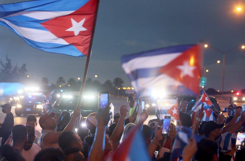 Pro-Cuban protesters in Miami, Florida