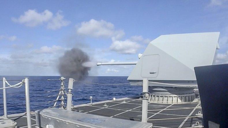 USS, Charleston, fires, gun, South, China, Sea