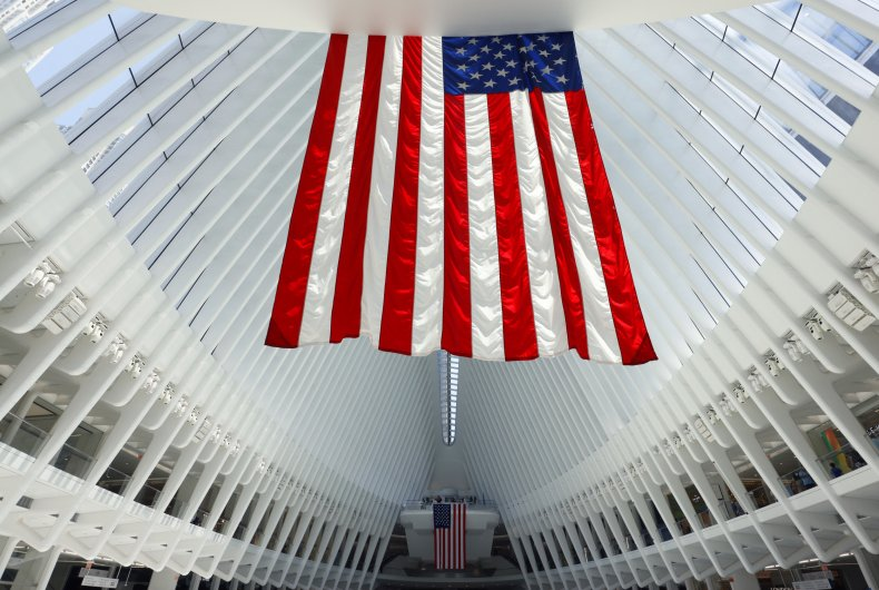 American flags hang inside the Oculus