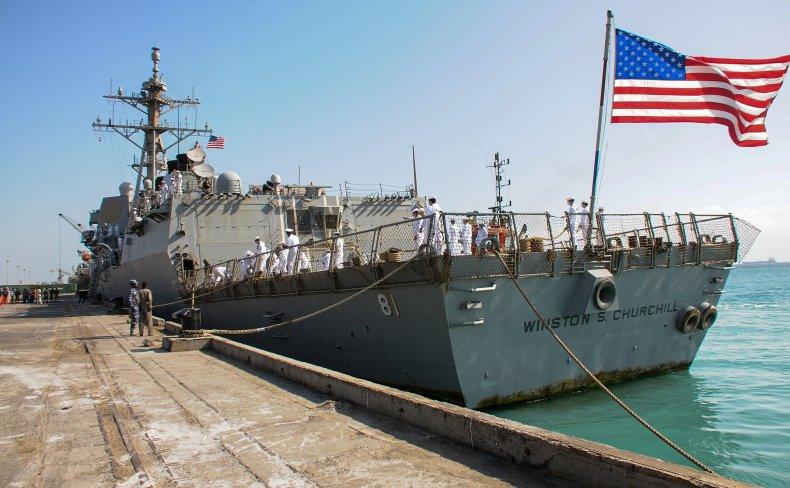U.S. Navy ship in port