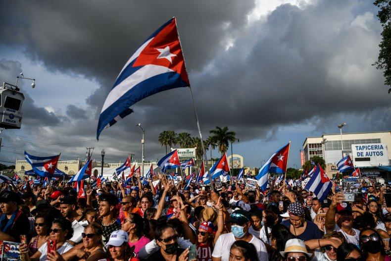 Cuban protests against Miami