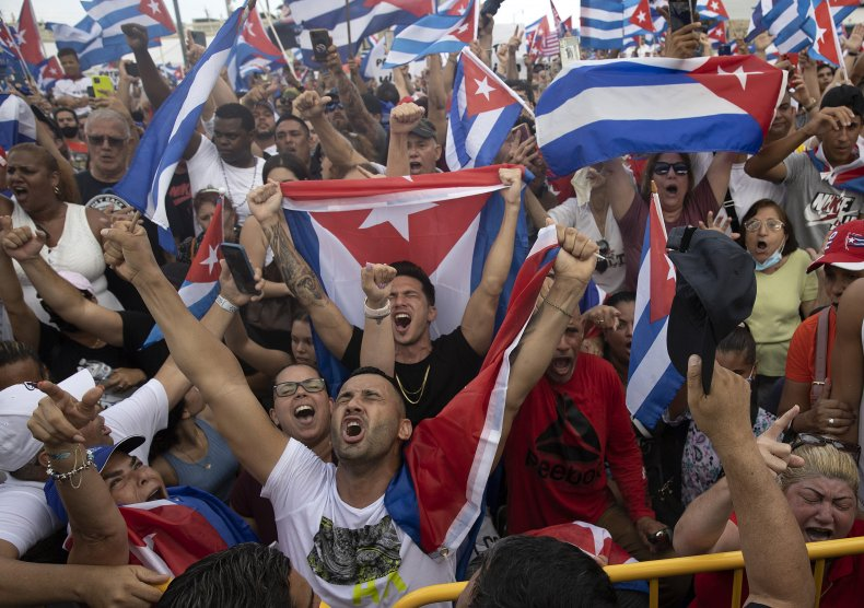 Protesters cheer during demonstration against Cuban regime