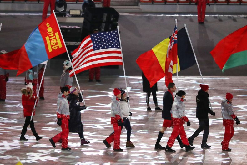 Flag bearers at the 2018 Winter Games.