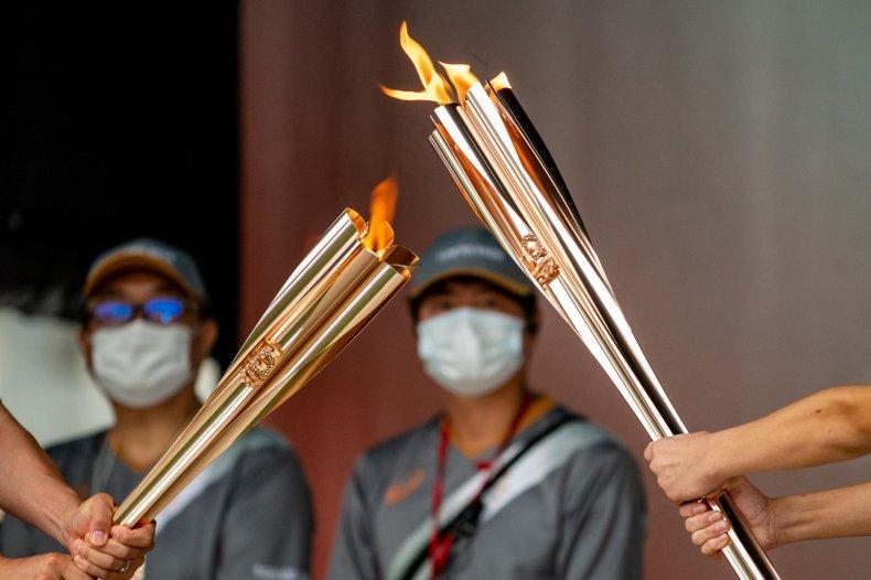 A 2021 Tokyo Olympics lighting ceremony.