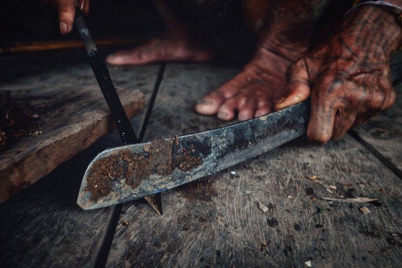 machete being sharpened