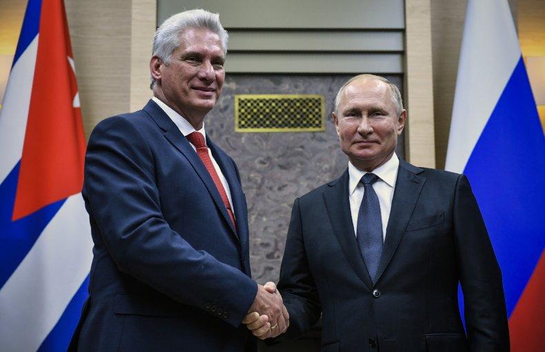 Cuba, Díaz-Canel, meets, Russia, Putin