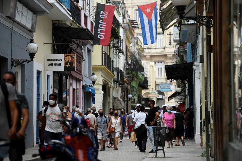 Havana, Cuba, street, flags