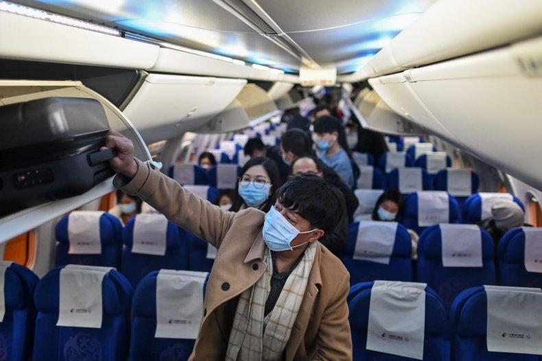 Airplane Passengers in Masks