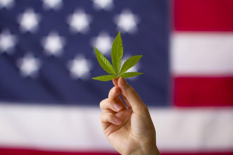 Cannabis leaf by U.S. flag