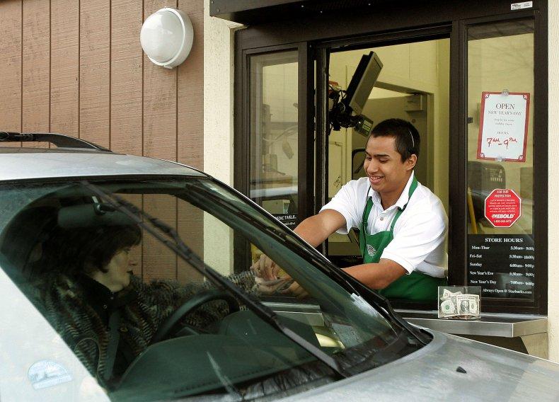 Car in Starbucks drive-thru