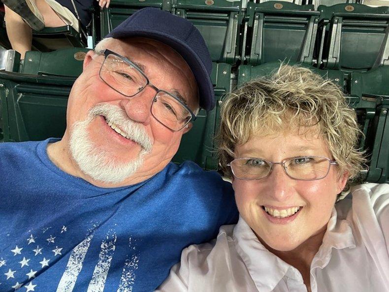 Gary and Melissa at baseball game
