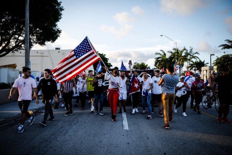 US, Cuba, flags, Florida, protest