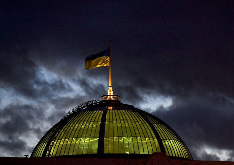 A Ukrainian flag flies in the wind