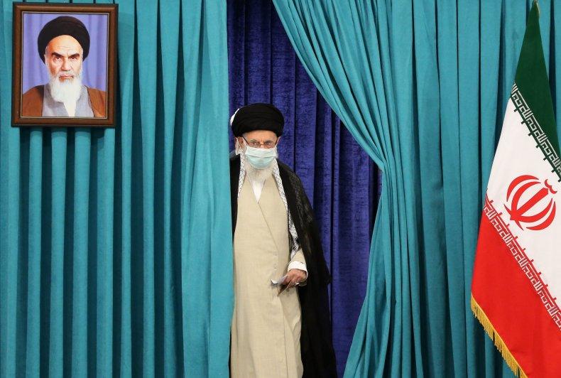 Iran's Supreme Leader Ayatollah Ali Khamenei wears