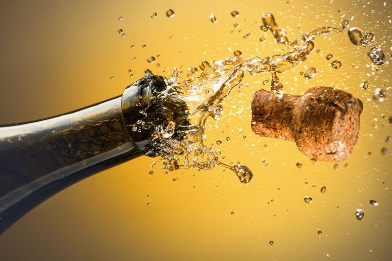 File photo of prosecco cork exploding.