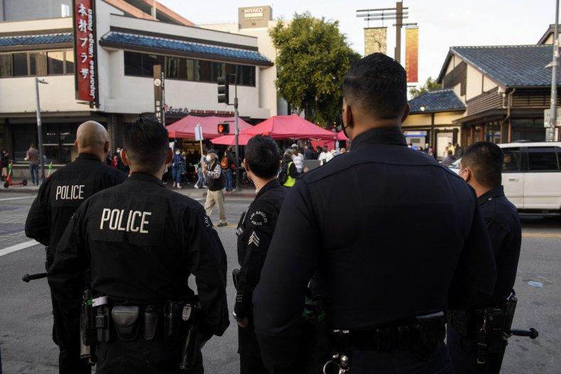 The LAPD officer shot at close range