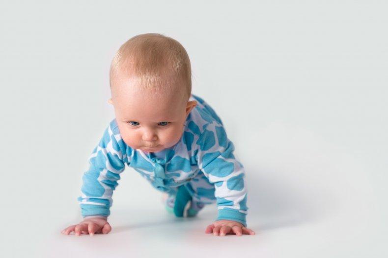 Baby doing push-ups