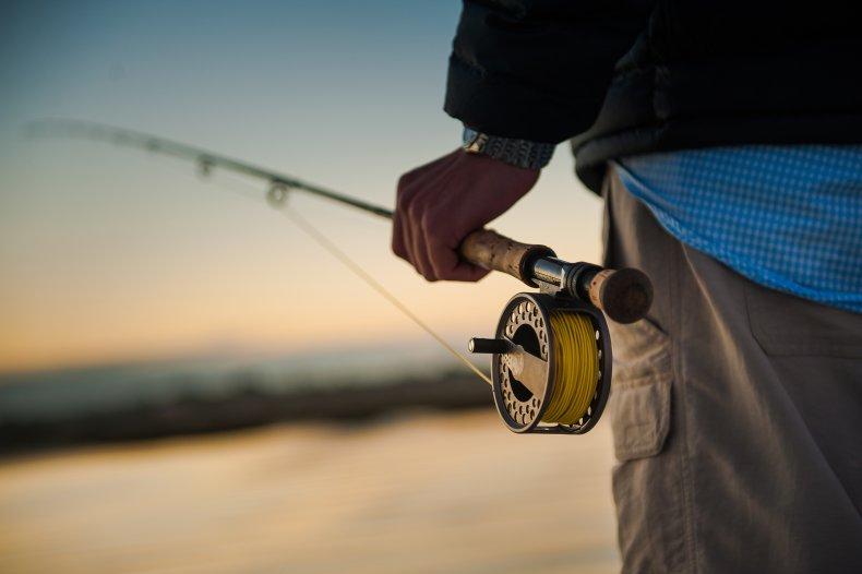 Fishing hook strikes man's chest