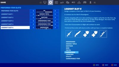 Fortnite Preferred Item Slot Settings