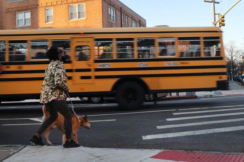 School bus in Brooklyn in November 2020