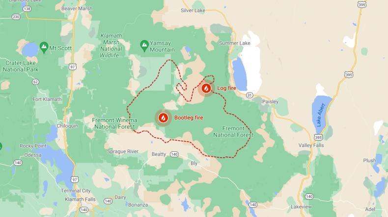 Bootleg Fire on Google Maps