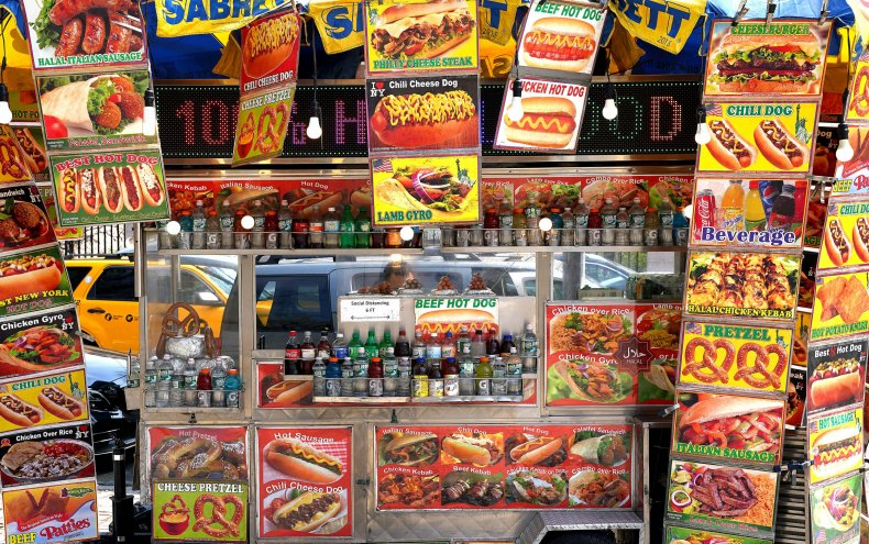 A hot dog vendor in NYC.