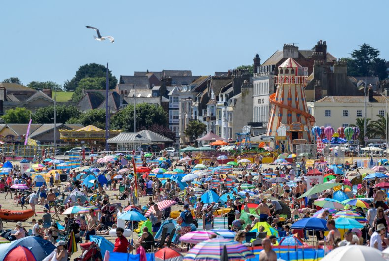 Crowds at an English beach on July18.
