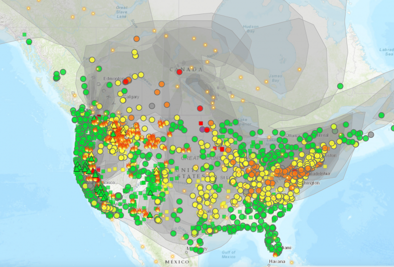 U.S. smoke and fire map