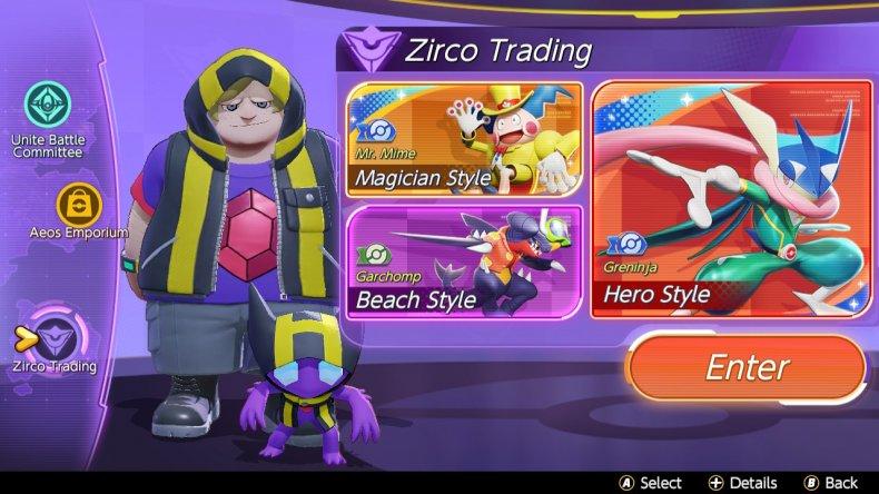 Pokemon Unite Zirco Trading Store