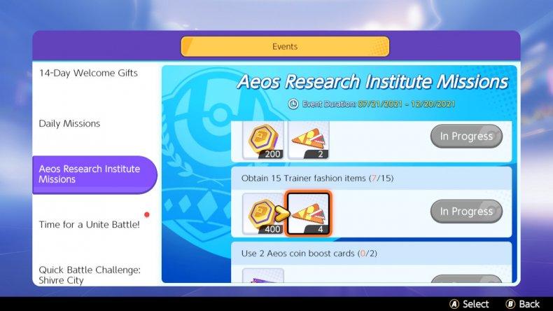 Aeos Research Institute Missiosn in Pokemon Unite