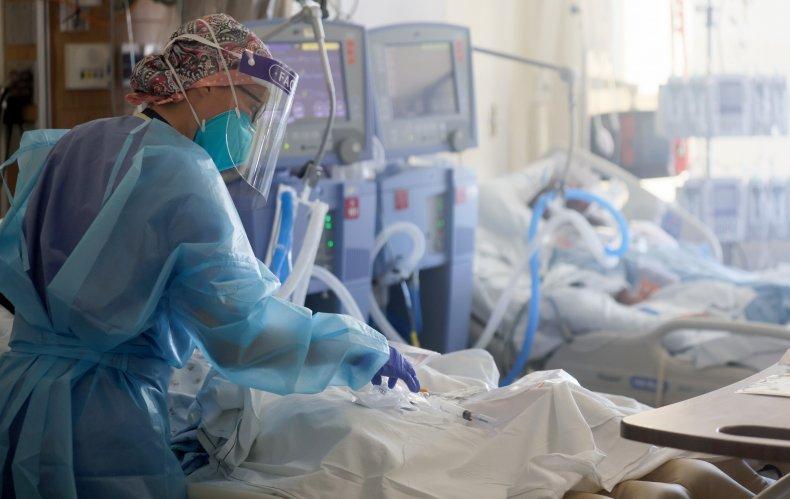 Nurse cares for ICU patients