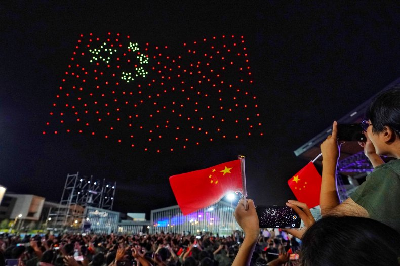 China Drones Create Flags In Sky