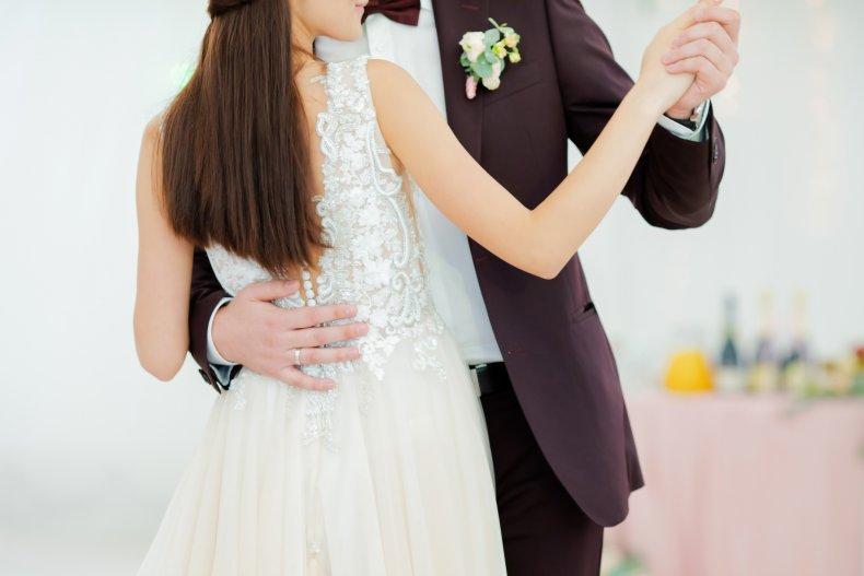Newlywed couple enjoying first dance at wedding.