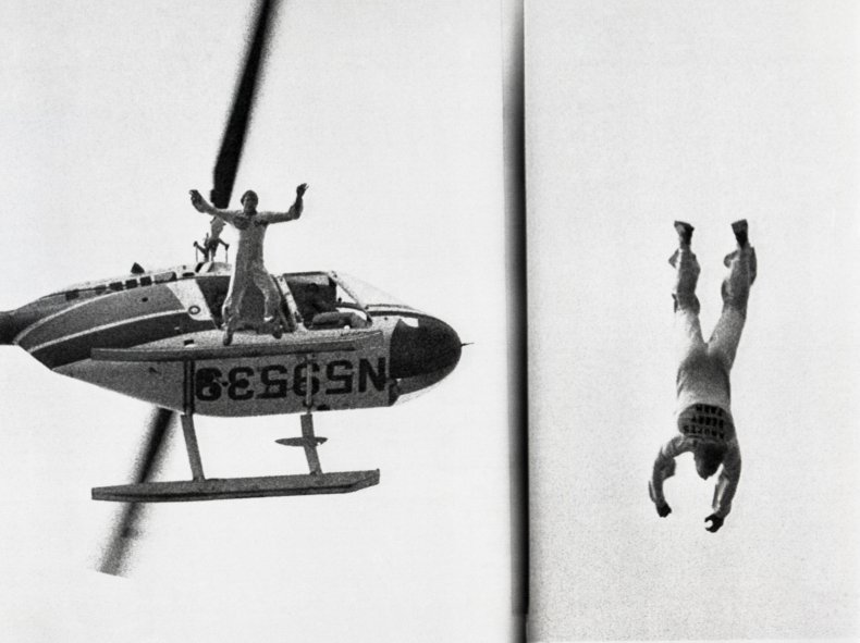 Dar Robinson performing stunt