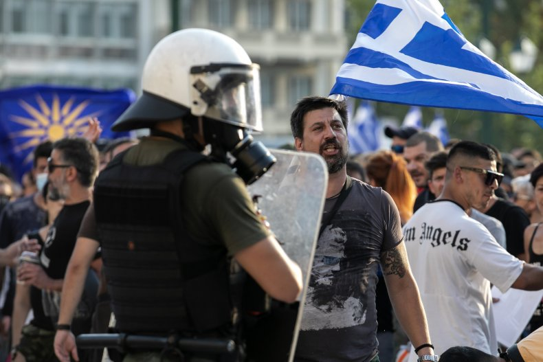 Athens Protest Against COVID Vaccine Requirement