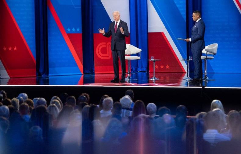 Joe Biden and Don Lemon onstage.