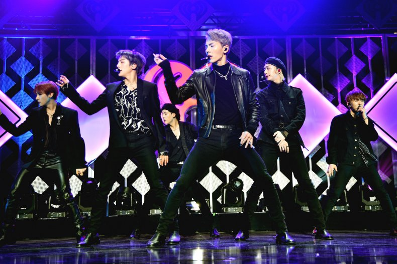Monsta X performing in NYC in 2019.