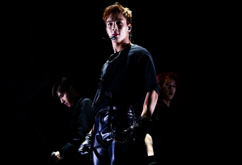 Shownu from Monsta X performing in California.