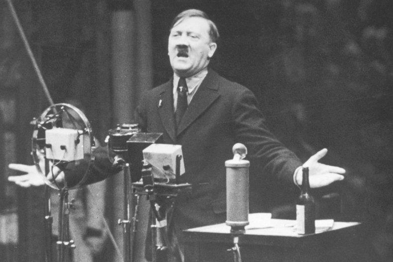 Nazi leader Adolf Hitler speaks in 1935