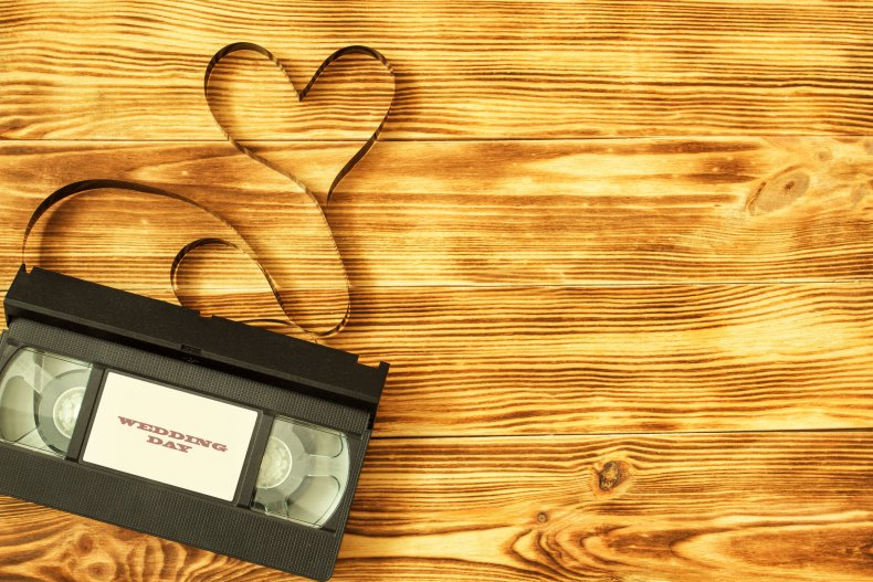 A VHS tape of a wedding video.