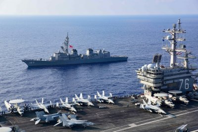 U.S. and Japan Forces Train In Pacific
