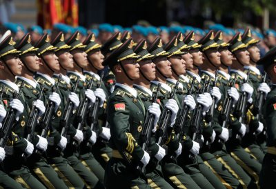 Chinese Troops March In Beijing Parade