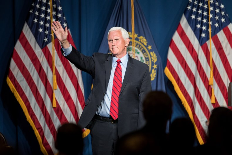 mike pence addresses crowd in new hampshire