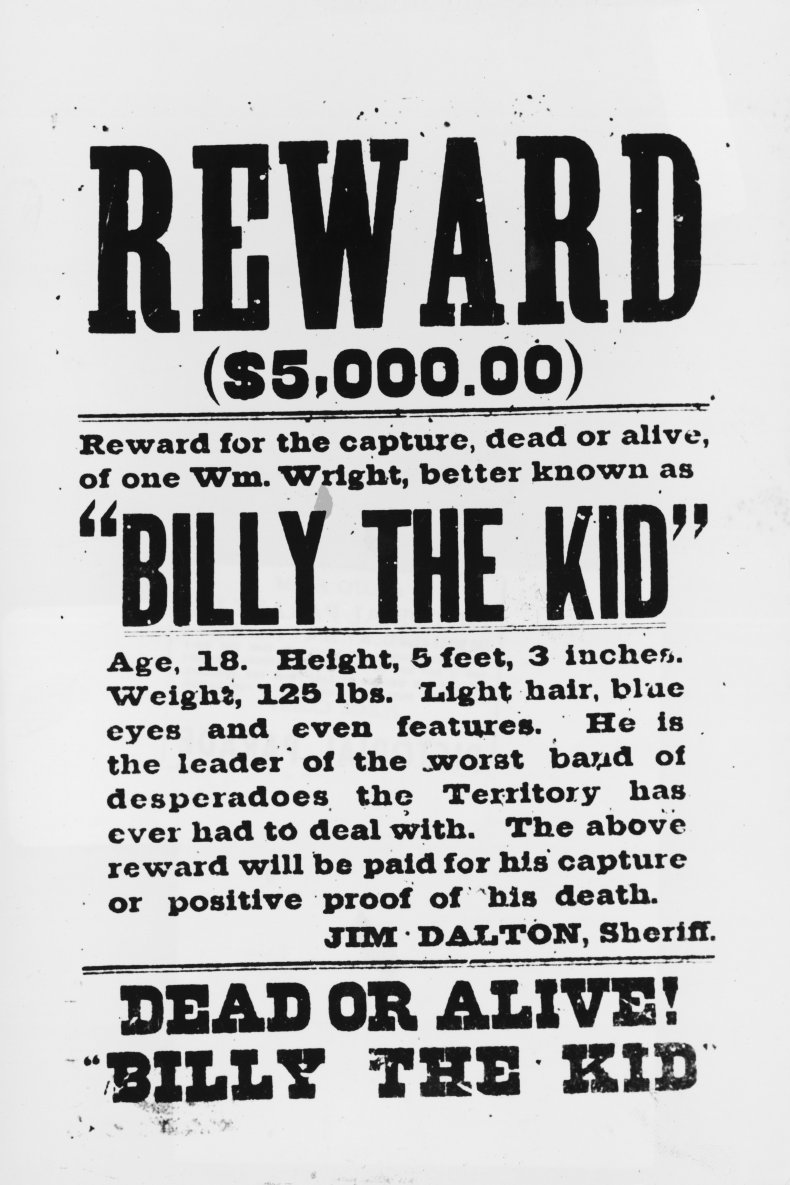 A wanted poster for Billy the Kid.
