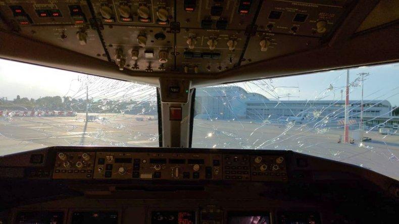 Hailstorm damage on plane
