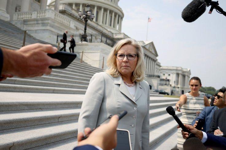 Liz Cheney speaks with reporters